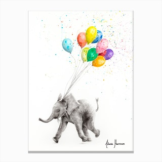 The Elephant And The Balloons Canvas Print