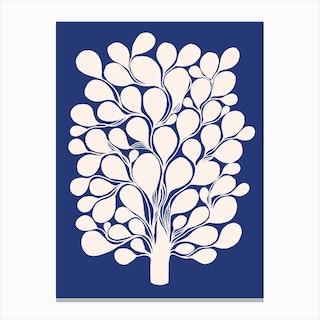 Beige Tree On Blue Canvas Print