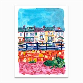 Houses By The Beach Canvas Print