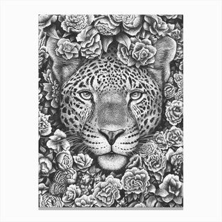 Jaguar In Flowers Canvas Print