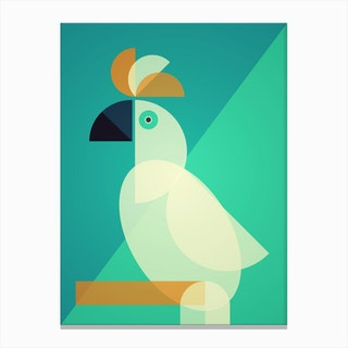 Mid Century Geometric Cockatoo Canvas Print