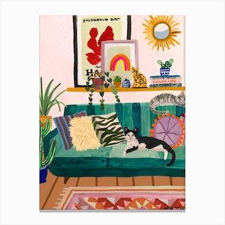 Living Room Cat Canvas Print