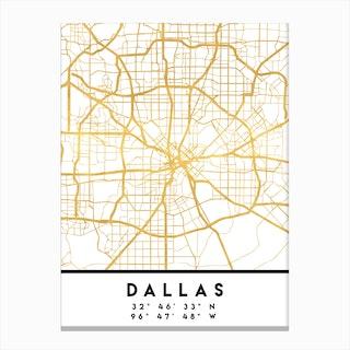 Dallas Texas City Street Map Canvas Print