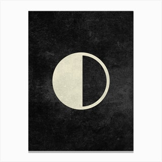 Minimal Quarter Moon Phase In Charcoal Canvas Print