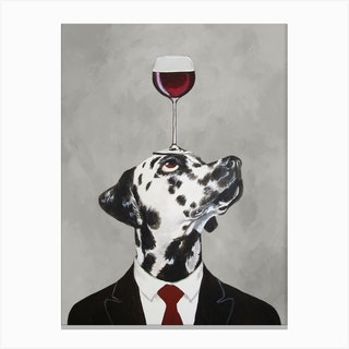 Dalmatian With Wineglass Canvas Print