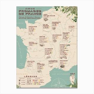 Carte Des Fromages De France Canvas Print