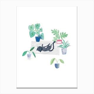 Painted Black Cat On Rug Canvas Print