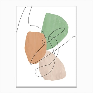 Abstract Line On Green Canvas Print