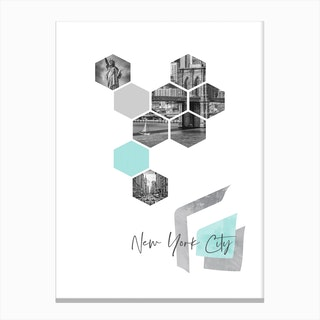 Urban Design New York City No 3 Turquoise Canvas Print