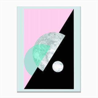 Pastel Moon Geometric Canvas Print
