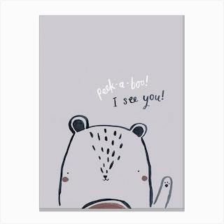 Peak A Boo Bear Canvas Print