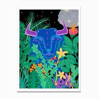 Blue Bull Canvas Print