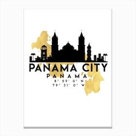 Panama City Silhouette City Skyline Map Canvas Print