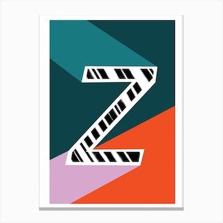 Z Geometric Font Canvas Print