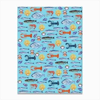 Fish Wallpaper Light Blue  Canvas Print