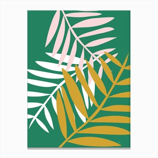 Palm Leaves in Green Canvas Print