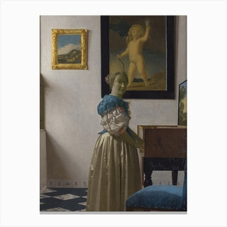 A Young Woman Standing At A Virginal, Johannes Vermee Canvas Print