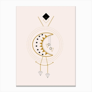 Moon And Diamonds In A Geometric Composition Canvas Print
