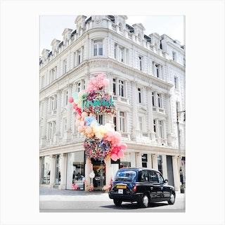 Black Cab Rainbow London Canvas Print