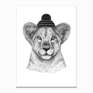 Kid Lion In Winter Hat Canvas Print