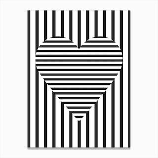Stripe Heart Canvas Print