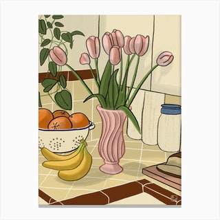 Kitchen Still Life With Pink Tulips Canvas Print