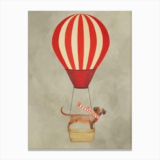 Dachshund With Hot Airballoon Canvas Print