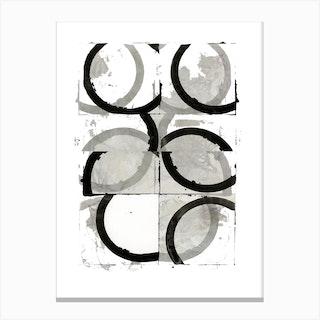 Black Neutral Discs Two Canvas Print