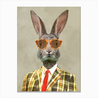 Retro Rabbit Canvas Print