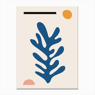 Blue Leaf Inspired By Matisse Canvas Print