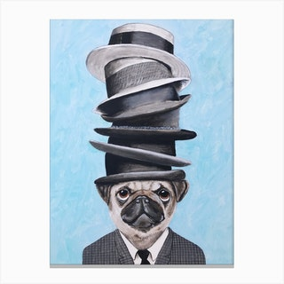 Pug With Stacked Hats Canvas Print