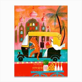 Screenprint India Riskshaw Tiger Canvas Print