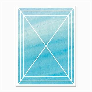 Turquoise Watercolour Grid Canvas Print