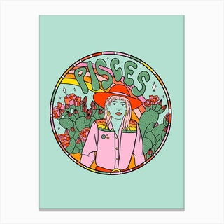 Pisces Cowgirl Canvas Print