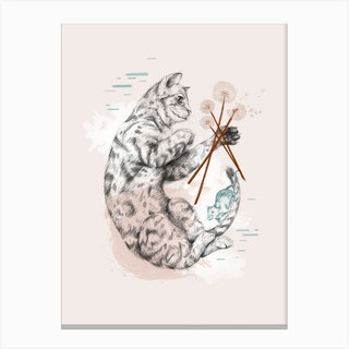 Cat And Dandelion Canvas Print