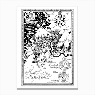 The Moomin Drawings Collection Moomin Valley Map Canvas Print