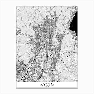 Kyoto White Black Canvas Print