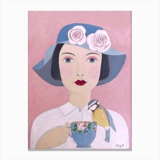 Woman With Teacup And Bird Canvas Print