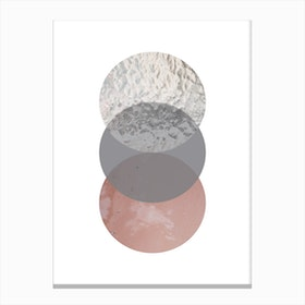 Three Circles Peach Sand and Glass Abstract Canvas Print