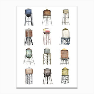 New York Water Towers Canvas Print