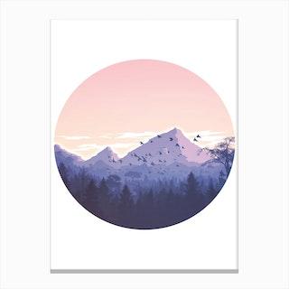 Round Pink Mountains Illustration Canvas Print
