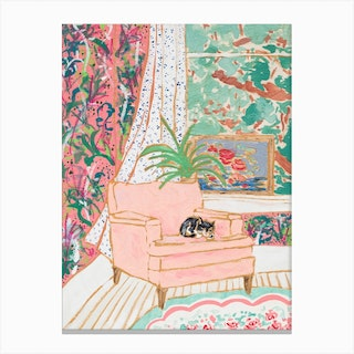 Cat Nap Tuxedo Cat Napping In Pink Interior Canvas Print