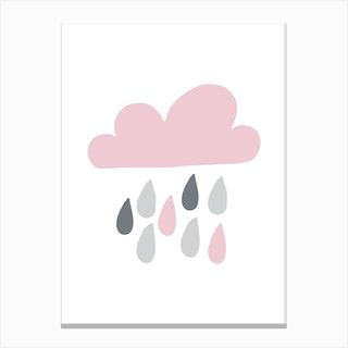 Rain Cloud Pink And Grey Canvas Print