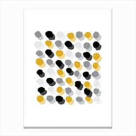 Abstract Mustard and Grey Rectangle Paint Dots Canvas Print
