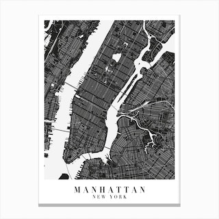 Manhattan New York Minimal Black Mono Street Map Canvas Print