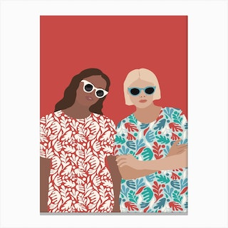 Jess And Jade   Red Canvas Print