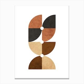 Quarter Circle Pattern In Brown 2 Canvas Print