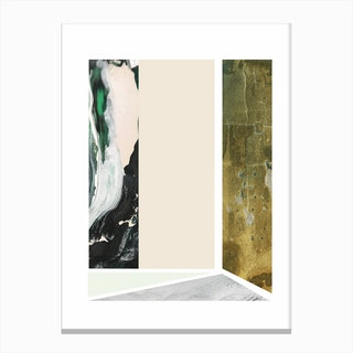 Textured Abstract Peach and Green Rectangles Canvas Print