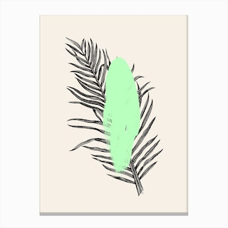 Tropical Tree Light Green Canvas Print