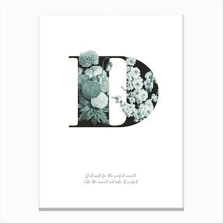 Flower Alphabet D Canvas Print